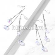 Pair of 316L Surgical Steel Hook Earrings with Double Chain and Iridescent Beads
