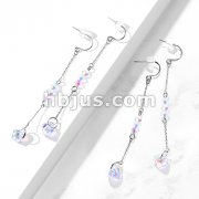Pair of 316L Surgical Steel Hook Earrings with Chain and Iridescent Beads