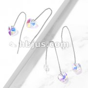 Pair of 316L Surgical Steel Free Falling Threader Earrings with Iridescent Heart