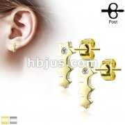 Triple Star with Crystal 316L Stainless Steel Earring Studs Pair