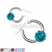 60 Pairs Crystal Paved Ball Stainless Steel Hoop Earrings Bulk Pack (10 Pairs x 6 colors)