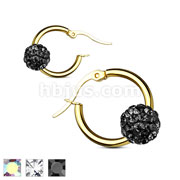 Pair of Colored Crystal Ball Gold Ion Plated over 316L Surgical Steel Hoop Earring