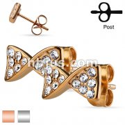 Pair of CZ Paved Ribbon Stainless Steel Stud Earrings