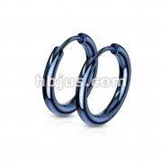 Pair of 316L Stainless Steel Hinge Action Seamless Hoop Earrings/ Blu IP