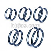 30 Pairs 316L Stainless Steel Hoop Earrings Mixed Sizes Bulk Packs (6 Pairs x 5 Sizes)