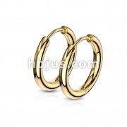 Pair of 316L Stainless Steel Hinge Action Seamless Hoop Earrings/ Rose Gold IP