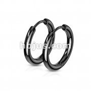 Pair of 316L Stainless Steel Hinge Action Seamless Hoop Earrings/ Blac IP