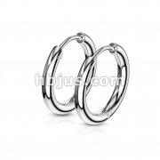 Pair of 316L Stainless Steel Hinge Action Seamless Hoop Earrings