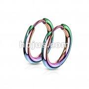 Pair of 316L Stainless Steel Hinge Action Seamless Hoop Earrings/ Rainbow Anodize