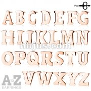 Pair of Rose Gold IP Alphabet Initial 316L Stainless Steel Earrings 52pc Pack (26 Alpahabet Pairs x 2)