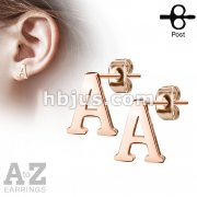 Pair of Rose Gold IP Alphabet Initial 316L Stainless Steel Earring Studs
