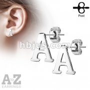 Pair of Alphabet Initial 316L Stainless Steel Earring Studs