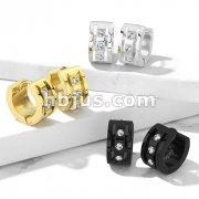 Pair of 3 CNC Set Clear CZ 316LStainless Steel Hinge Action Hoop Earrings