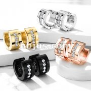 Pair of 4 CNC Set Clear CZ Stainless Steel Hinge Action Hoop Earrings
