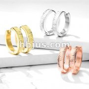Pair of Grooved Arcs Stainless Steel Hinge Action Hoop Earrings