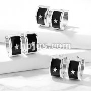 Pair of Shiny Star on Black Enamel 316L Stainless Steel Hoop Earrings