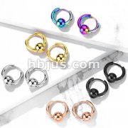 Pair of Captive Ball 316L Stainless Steel Hinge Action Seamless Hoop Earrings