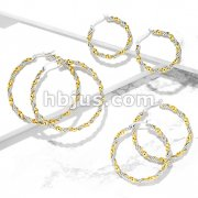 Pair of Braided 316LStainless Steel and Gold IP Twisted Hoop Earrings