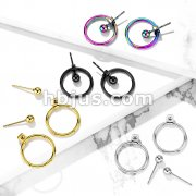 Pair of Hollow Ball with Hoop Back 316L Stainless Steel Earrings