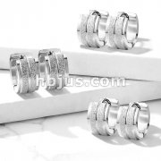 Pair of Sandblasted Center with Grooved Line and Stepped Edges Stainless Steel Hinge Action Hoop Earrings