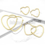 Pair of Gold IP Wave Pattern Heart Shaped 316LStainless Steel Hoop Earrings