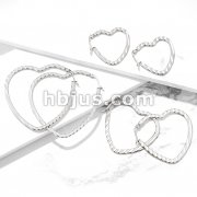 Pair of Wave Pattern Heart Shaped 316L Stainless Steel Hoop Earrings