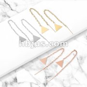 Pair of Free Falling Chain with Solid Triangle and Bar 316L Stainless Steel Threader Earrings
