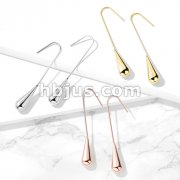 Pair of Long Teardrop Hanging 316L Surgical Steel Hook Earrings