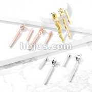 Pair of Long Bar 316L Stainless Steel Stud Earrings with Dangling Bar on Butterfly Clasp