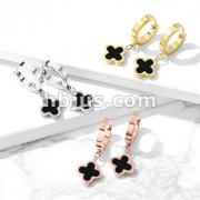 Pair of 316L Stainless Steel Hinged Hoop Earrings with Black Enamel Center Clover Dangle