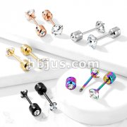 Pair of Prong Set Round Clear CZ Gem Top 316L Surgical Steel Externally Threaded Labret, Earring Studs with CZ centered Screw Back