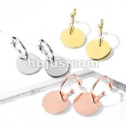 Pair of Hoop Studs with Round Plate Dangle Stainless Steel Stud Earrings
