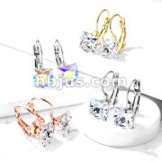 Pair of Square CZ with Lever Back 316L Stainless Steel Earrings