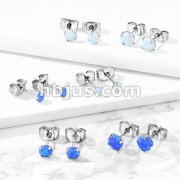 Pair of Prong Set Opal 316L Stainless Steel Stud Earrings