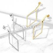 Pair of Square Bar and Diamond Shape Dangle Stainless Steel Earrings