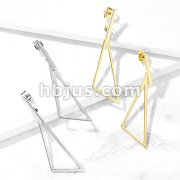 Pair of Square Bar and Triangle Shape Dangle Stainless Steel Earrings