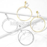 Pair of Square Bar and Round Hoop Dangle Stainless Steel Earrings