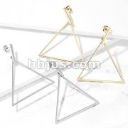 Pair of Square Bar and Large Triangle Dangle Stainless Steel Earrings