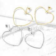 Pair of Square Bar and Heart Hoop Dangle Stainless Steel Earrings