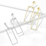 Pair of Square Bar and Long Square Dangle Stainless Steel Earrings