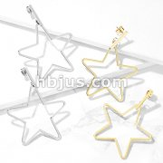 Pair of Square Bar and Star Dangle Stainless Steel Earrings