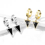 Pair of Stainless Steel Hinged Hoop Earrings with Black Enamel Filled Triangle Dangle