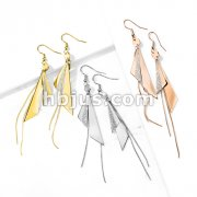 Pair of One and Two Tone Triangles and Chain Dangle 316L Stainless Steel Hook Earrings