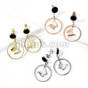Pair of Two Tone Butterfly Inside Hoop Dangle on Black Enamel Filled Circle 316L Stainless Steel Stud Earrings