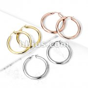 Pair of Thick Hollow Stainless Steel Hoop Earrings