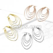 Pair of Quadruple Layered Ovals 316L Stainless Steel Hoop Earrings