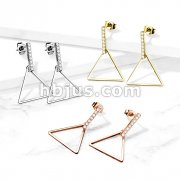Pair of Paved Rectangular Bar on Triangular Dangle Stainless Steel Earrings