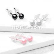 Pair of All Ceramic Ball Stud Earrings