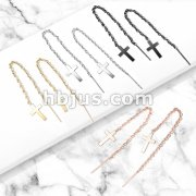 Pair of 316L Stainless Steel Earrings Chain Linked Cross and Post.
