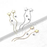Pair of 316L Surgical Steel Star Threader Earrings with Wave Dangle